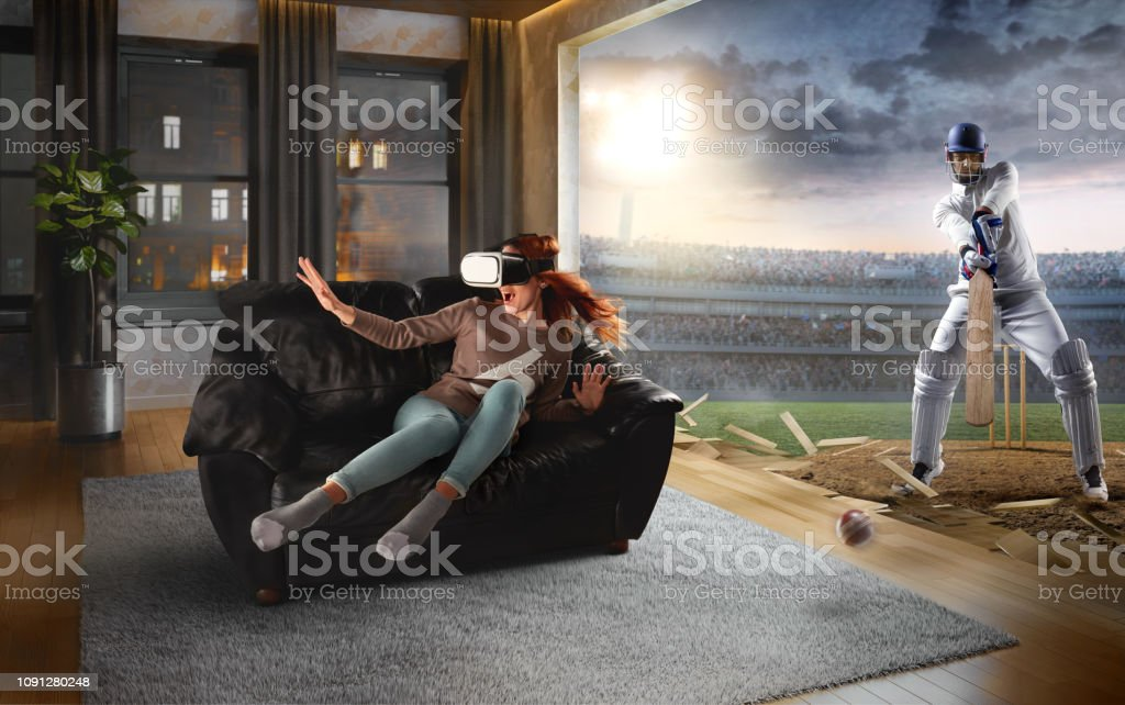 Woman in VR Glasses. Virtual Reality with cricket stock photo