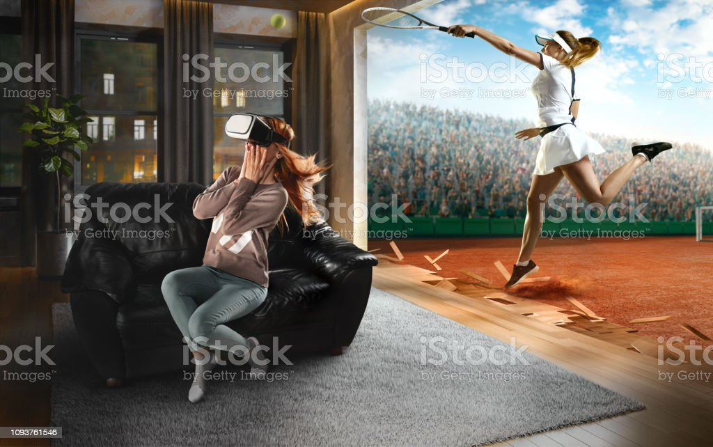 Woman in VR Glasses. Virtual Reality with Tennis stock photo