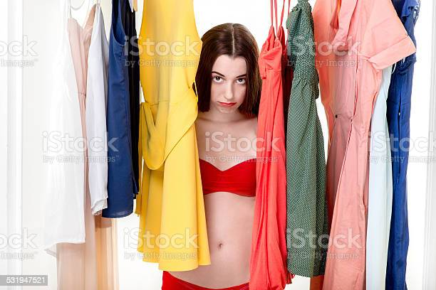 Woman In Wardrobe Stock Photo - Download Image Now