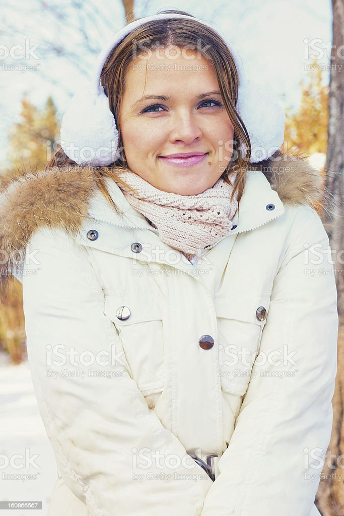 Woman in warm clothes royalty-free stock photo