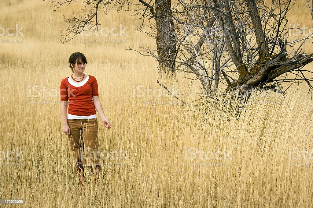 Woman in Wheat Field royalty-free stock photo