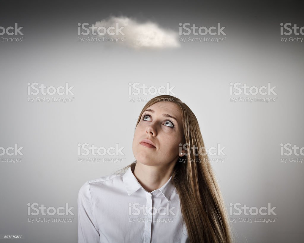 Woman in white and cloud. Lizenzfreies stock-foto