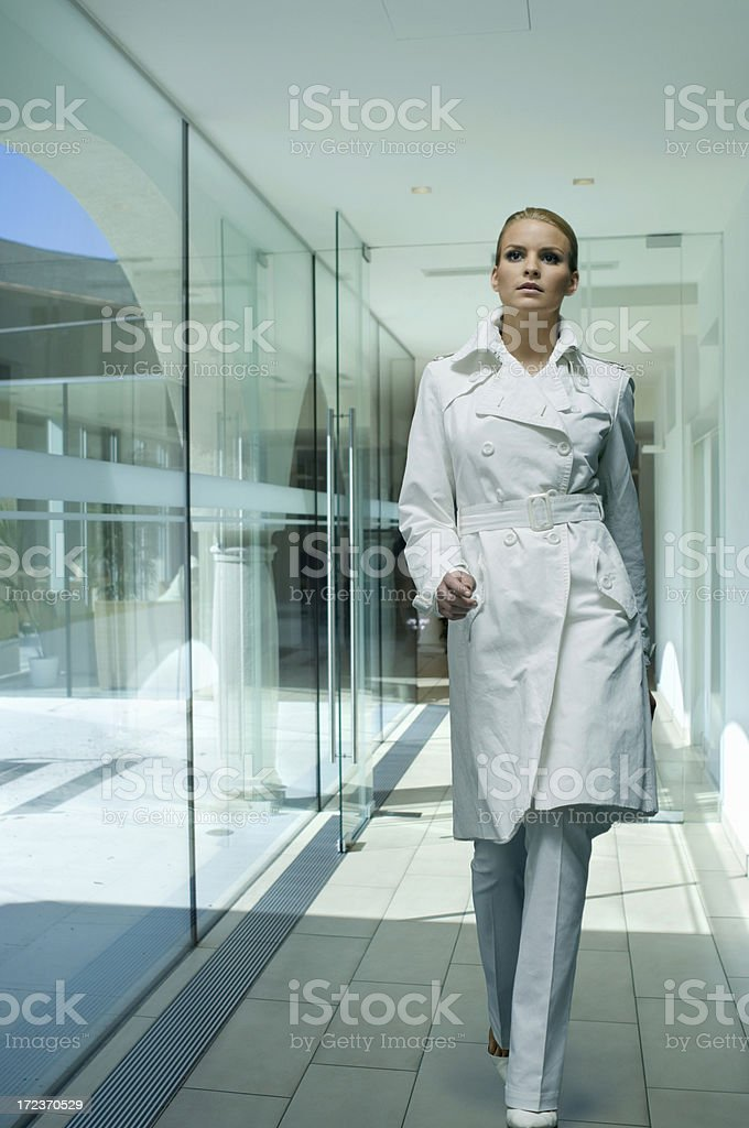 woman in white coat royalty-free stock photo