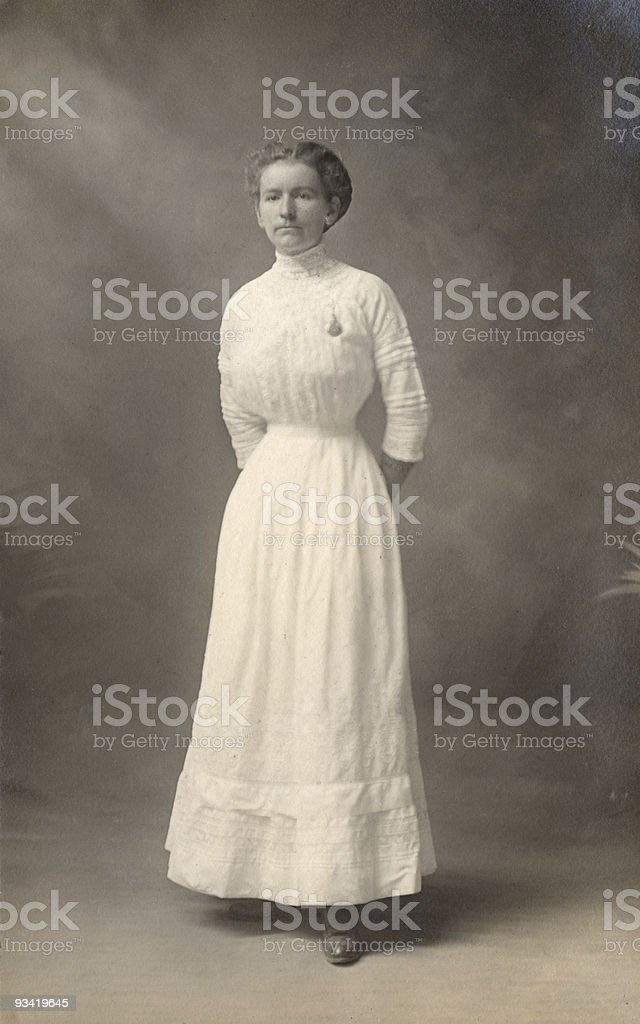 Woman in white dress, 1908 stock photo
