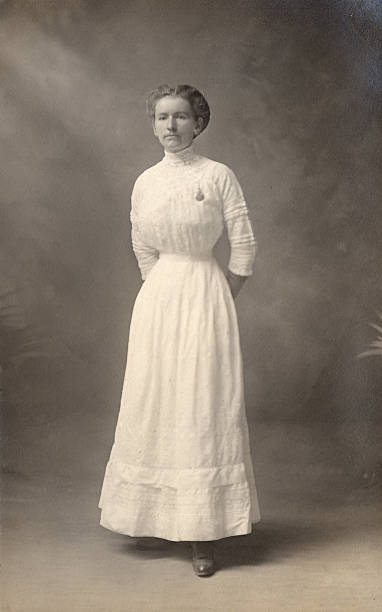 Woman in white dress, 1908  edwardian style stock pictures, royalty-free photos & images