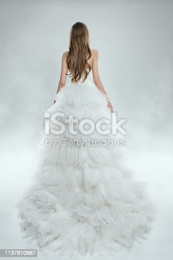 Woman in White Dress Back View, Fashion Model in Long Gown, Bride Beauty Studio Wedding Shot, Studio shot over white background