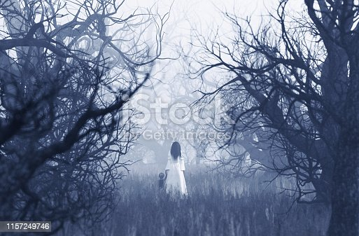 istock Woman in white dress with the boy 1157249746