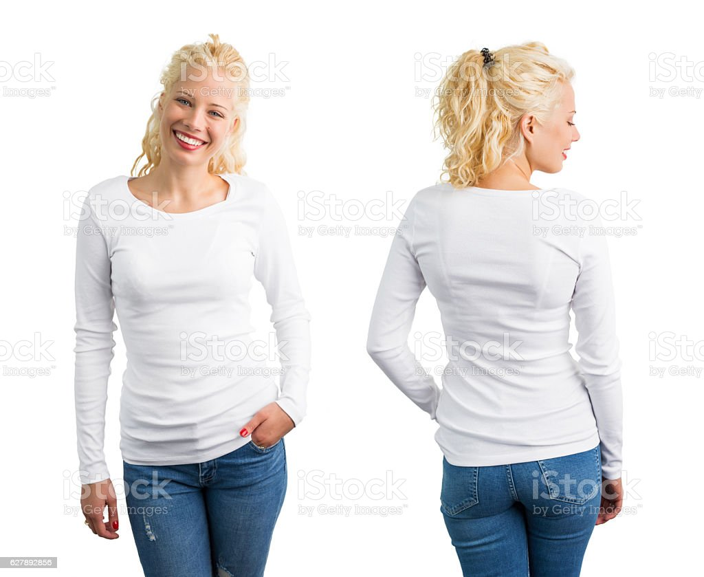 Woman in white long sleeve shirt stock photo