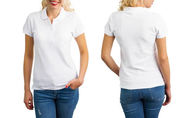 frau in weißen polo-shirt, vorne und hinten - damen shirts online stock-fotos und bilder