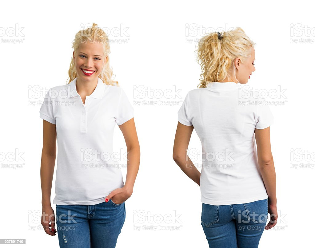 Woman in white polo T-shirt stock photo