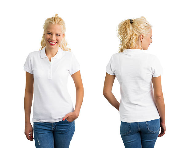 woman in white polo t-shirt - abgeschnittenes t shirt stock-fotos und bilder