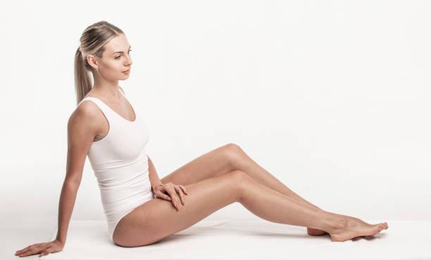 Woman in white underwear stock photo
