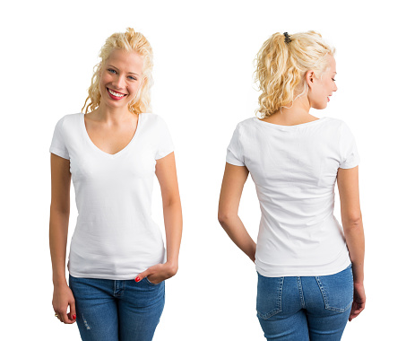 istock Woman in white V-neck T-shirt 627892318