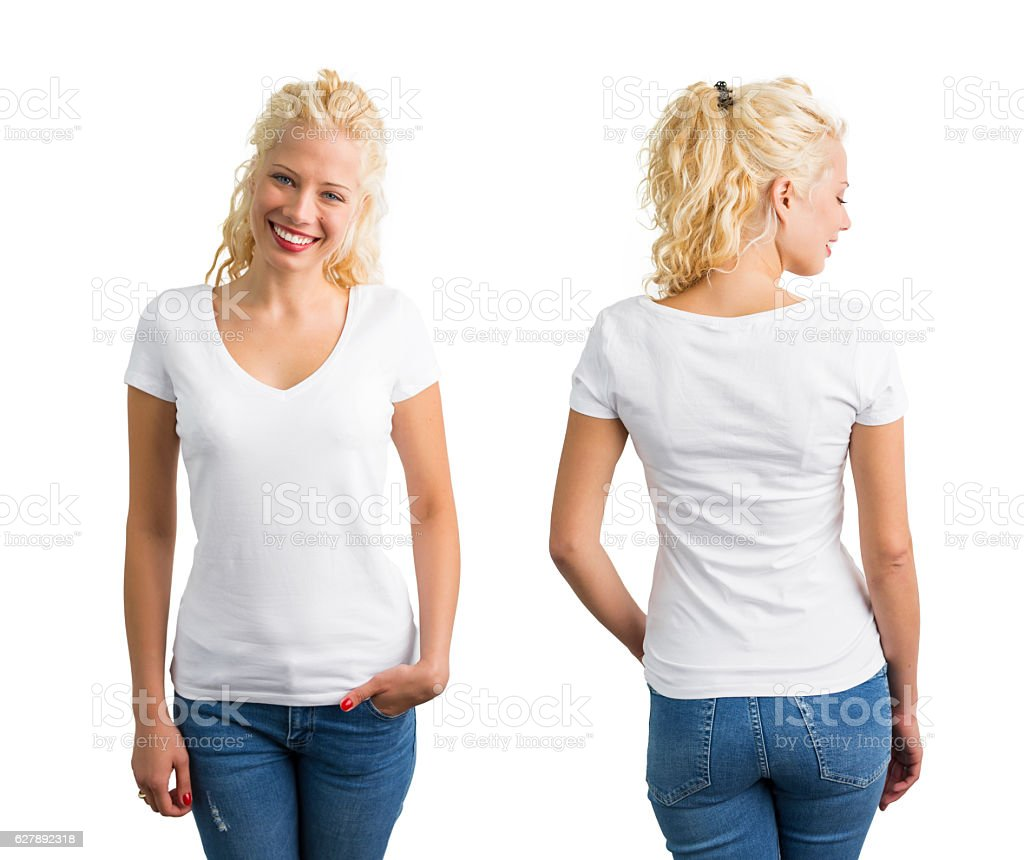 Woman in white V-neck T-shirt stock photo