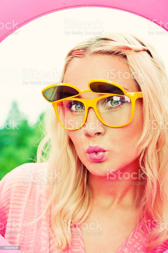 Woman in wierd glasses royalty-free stock photo