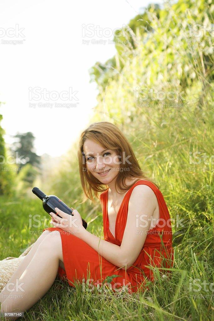 Woman in Wineyard royalty-free stock photo