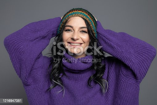 Beautiful woman wearing winter clothes.