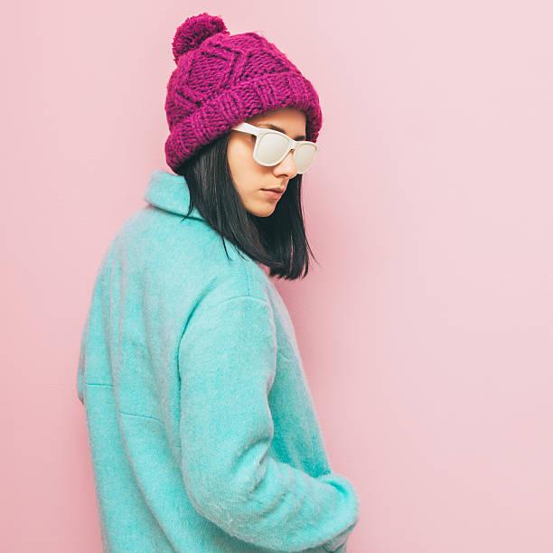 woman in winter coat. pastel fashion stock photo