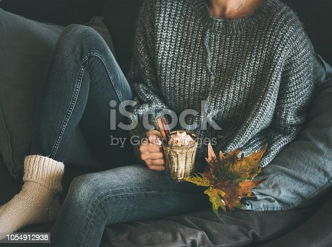 Woman in woolen sweater and jeans sitting and holding mug with hot chocolate or coffee with whipped cream and cinnamon and fallen leaf. Fall warming sweet drink