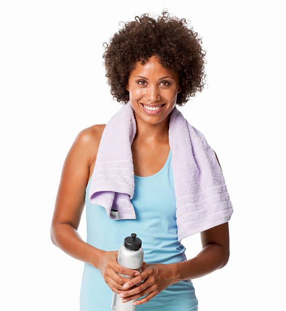 woman in workout clothing - black woman towel workout bildbanksfoton och bilder