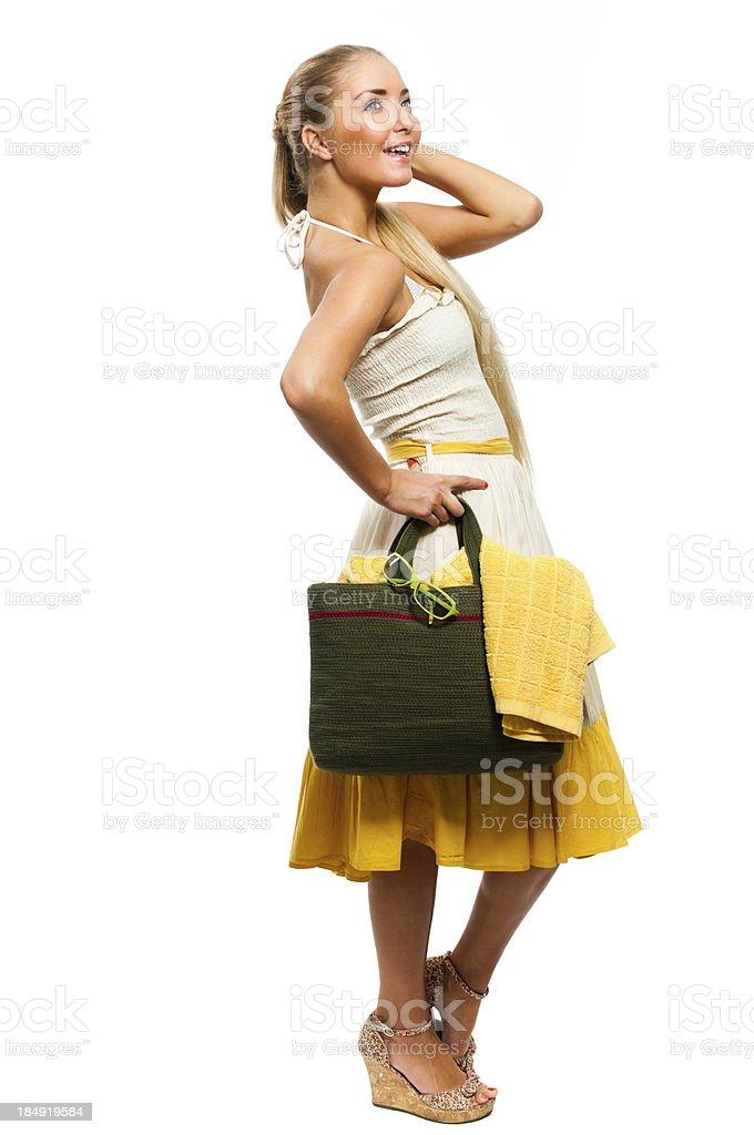 Woman in yellow beach dress royalty-free stock photo