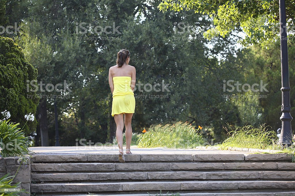 Woman in yellow royalty-free stock photo