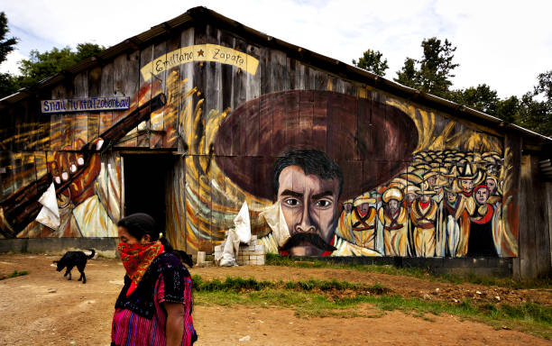 Woman in Zapatista village stock photo