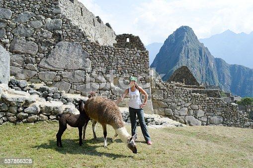 istock Woman interacting with llama at Machu Picchu 537866328