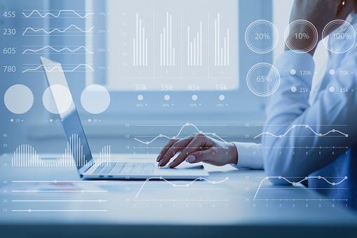 Woman investor analyzing company financial