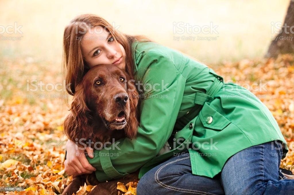 Woman & Irish Setter Dog Pet Autumn Nature stock photo