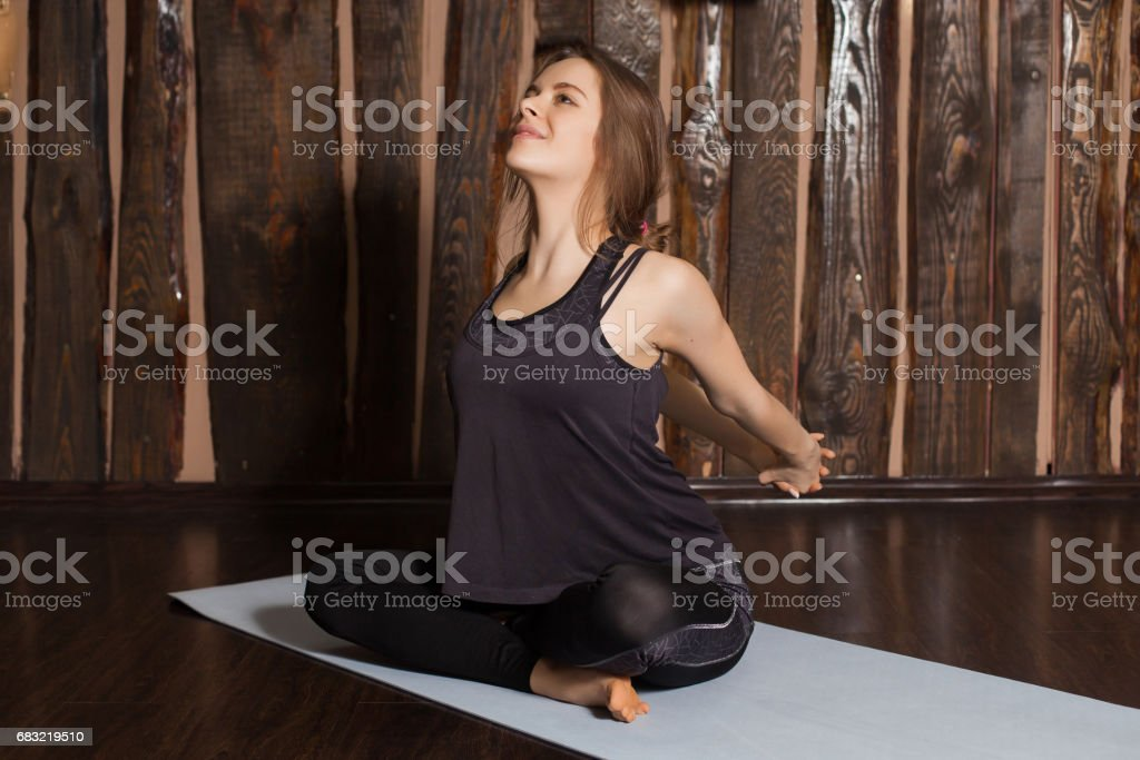 Woman is kneading her back 免版稅 stock photo