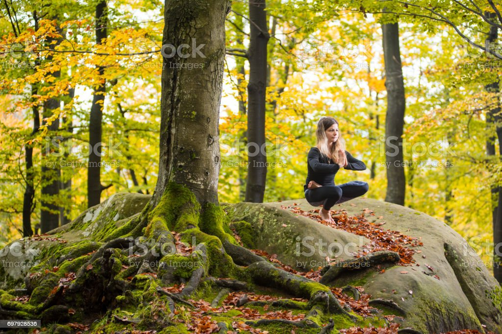 Woman is practicing yoga in autumn forest on the big stone stock photo