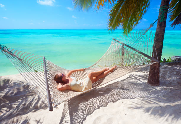 Woman is relaxing in a hammock on the beach among the palm. stock photo