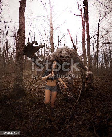 istock Woman is running away from a monster 950306594
