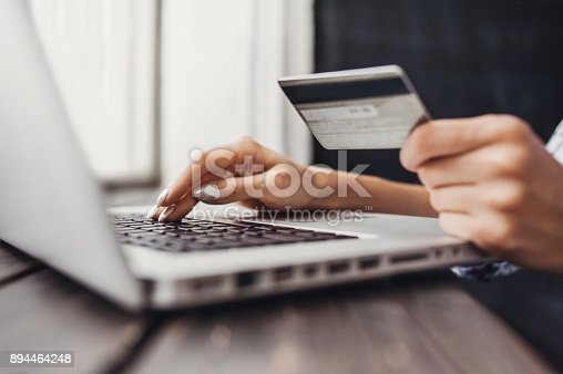 Female hands typing on laptop. Online shopping concept