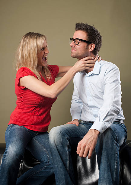 Royalty Free Woman Strangles Man Pictures, Images and