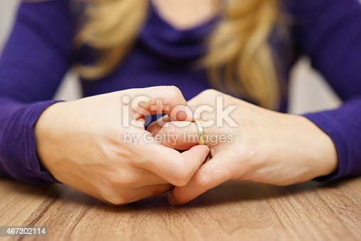 istock Woman is taking off the wedding ring 467302114