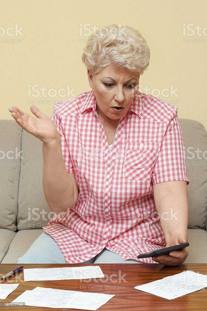 woman is upset her debts royalty-free stock photo