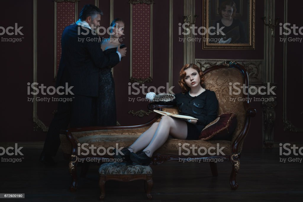 Woman is writing a book. stock photo