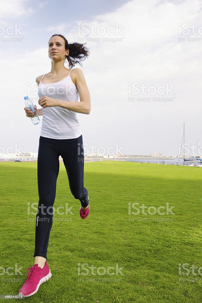 woman jogging at morning royalty-free stock photo
