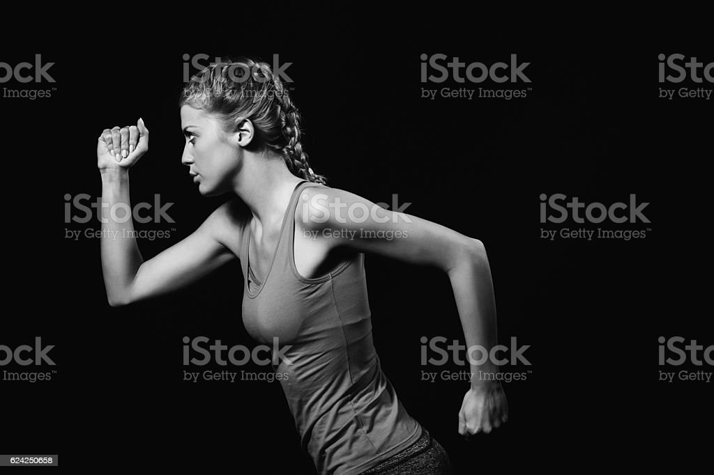 Woman jogging stock photo