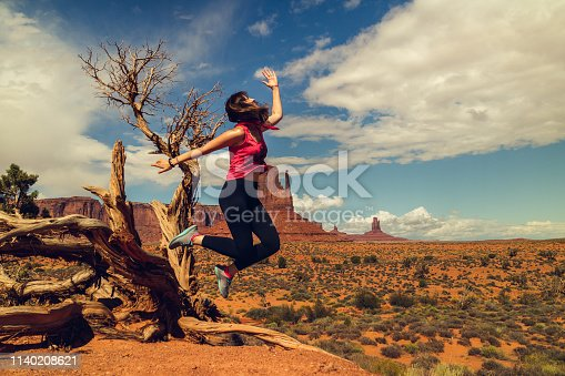 Monument Valley Navajo Tribal Park. Happy Woman Jump, an Old Tree and Red Rocks in Background