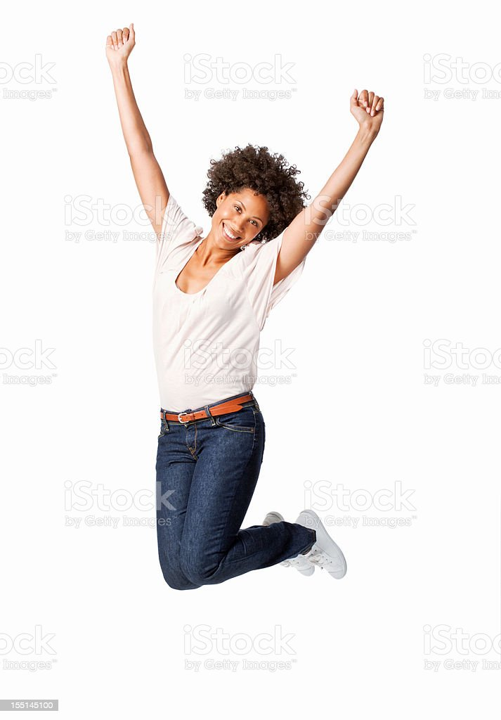 Woman Jumping in Celebration stock photo