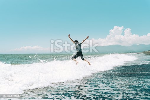 500536143istockphoto A woman jumping on the beach 1014097932