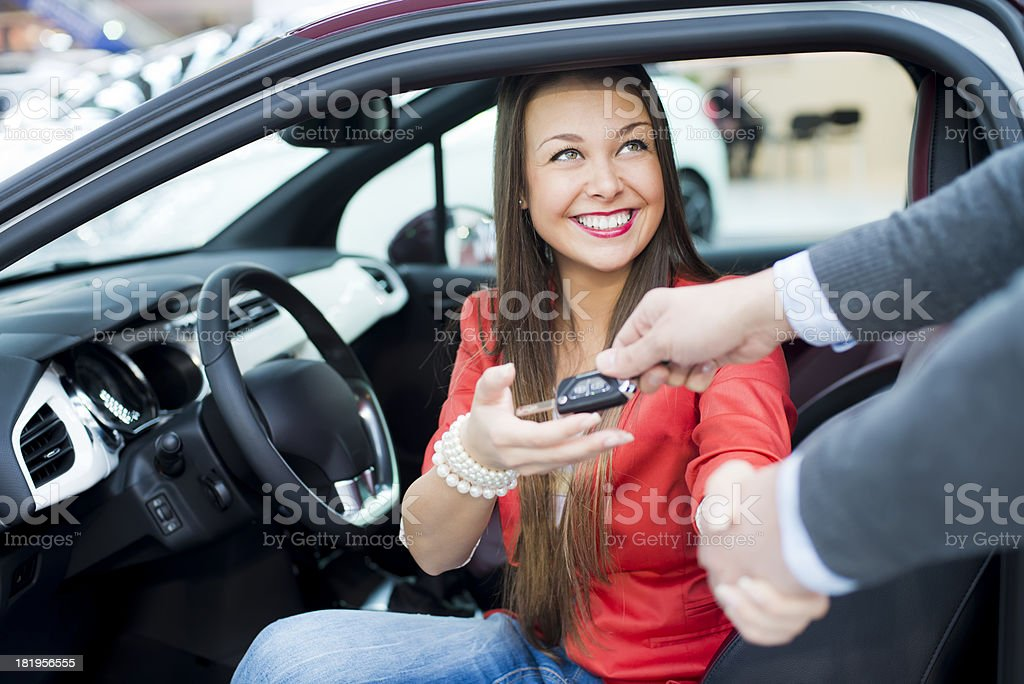 woman just buy a new car stock photo
