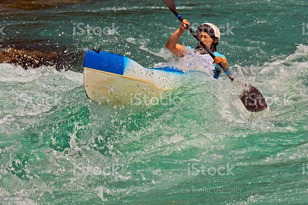 Woman Kayaking on Soca River Rapids Slovenia Europe royalty-free stock photo
