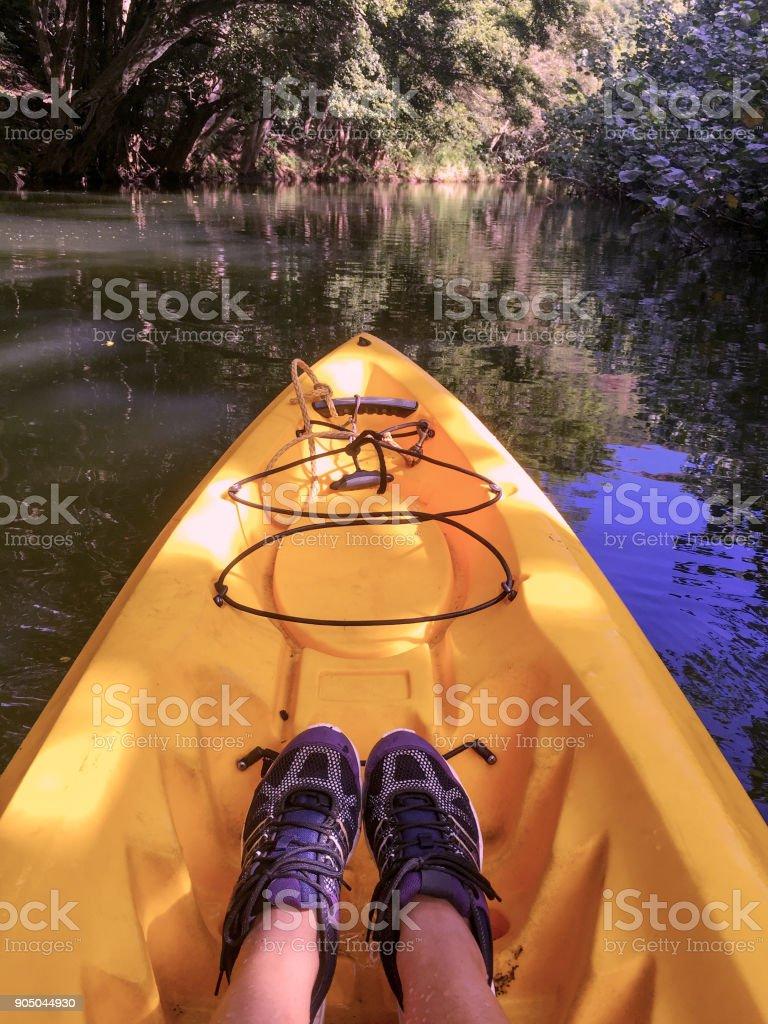 Woman Kayaks On Wailua River Kauai Hawaii Stock Photo & More