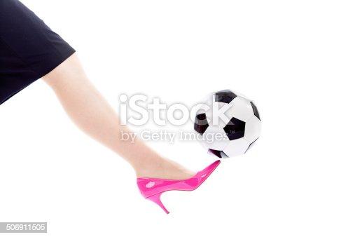 Woman Kicking Off Soccer Ball Wearing Pink High Heel Shoes ...