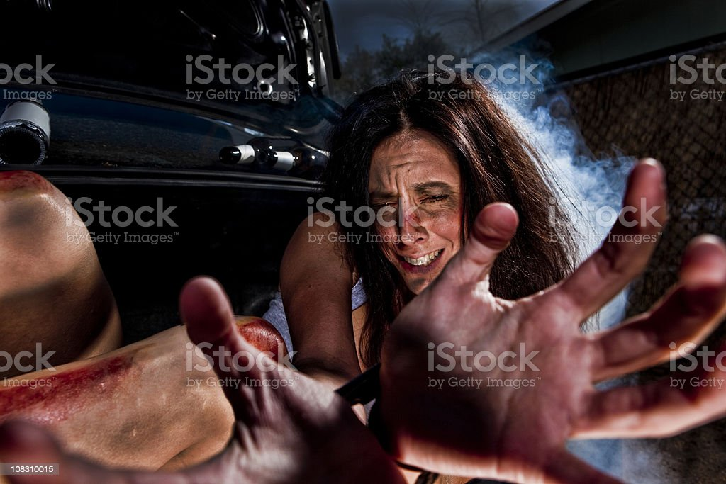 Woman kidnapped royalty-free stock photo