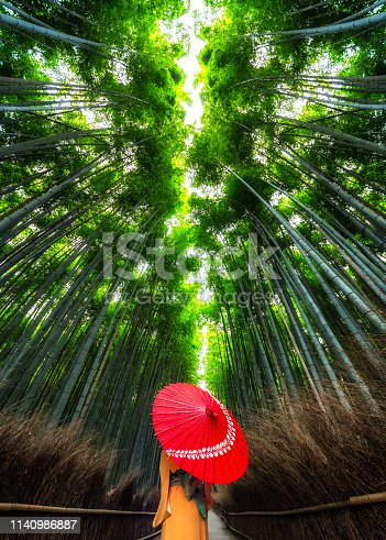 woman with an orange kimono and a red umbrella in Arasshiyama bamboo forest in Kyoto, Japan